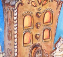 Hand drawn watercolor illustration of gingerbread house Sticker