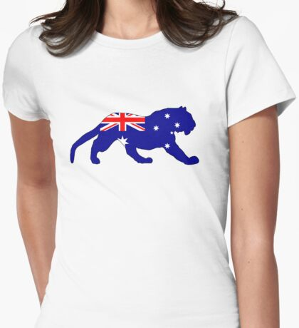 Australian Flag - Tiger Womens Fitted T-Shirt