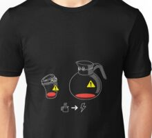 Funny Coffee Aholic Low Battery Needs Charge Reading Gift Shirt Unisex T-Shirt