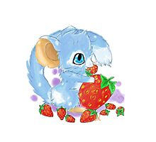 Cute Blue Mouse With Berries Photographic Print
