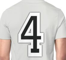 4, TEAM SPORTS, NUMBER 4, FOUR, FOURTH, Competition, White on Grey Unisex T-Shirt