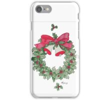Holly Wreath with Bells iPhone Case/Skin