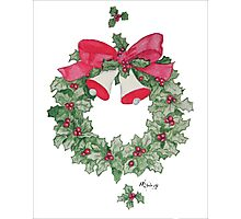 Holly Wreath with Bells Photographic Print