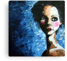 Clown Triste - Sad Clown Girl Canvas Print