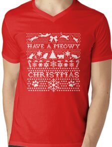 UGLY CHRISTMAS SWEATER, HAVE A MEOWY CHRISTMAS Mens V-Neck T-Shirt