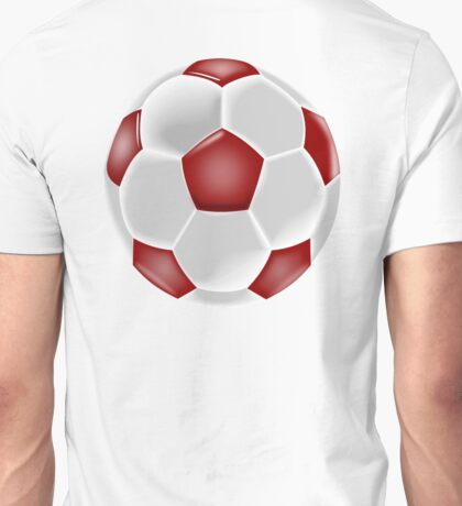 Soccer, Soccer Ball, Ball, Football, Red and white Unisex T-Shirt