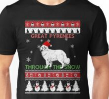 Merry Christmas - Great Pyrenees Through The Snow Unisex T-Shirt