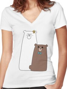 Polar Bear and Brown Bear Women's Fitted V-Neck T-Shirt