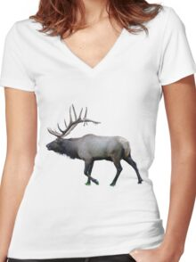 Willow Wapiti elk Women's Fitted V-Neck T-Shirt