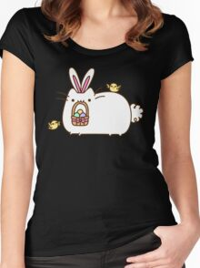 Cute Kawaii Easter Bunny Cat Women's Fitted Scoop T-Shirt
