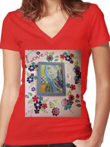 Joni On The Wall With Flowers Women's Fitted V-Neck T-Shirt