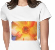 Peach and Yellow Rose Womens Fitted T-Shirt