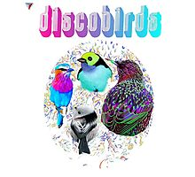 Disco Birds Neon Artwork T-Shirt by Cyrca Originals Photographic Print
