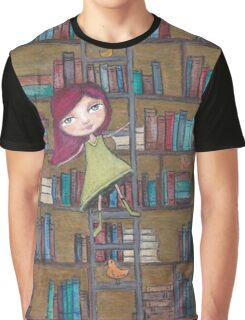 Library Girl Books and Birds Graphic T-Shirt