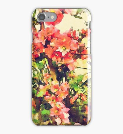 Red Pink Watercolor Floral Pattern iPhone Case/Skin
