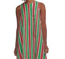 Distressed Holiday Traditional Christmas Stripe Pattern Green Red White A-Line Dress