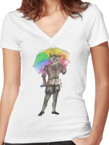 Steampunk Cat with Rainbow Umbrella  Women's Fitted V-Neck T-Shirt