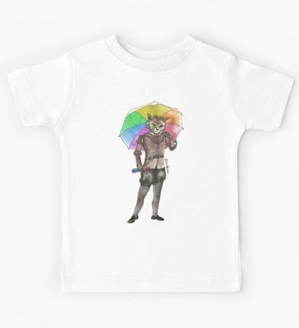 Steampunk Cat with Rainbow Umbrella  Kids Tee