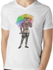 Steampunk Cat with Rainbow Umbrella  Mens V-Neck T-Shirt