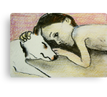 girl and pup Canvas Print