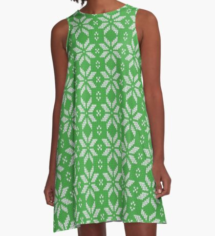 Knitted Snowflake Green A-Line Dress