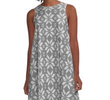 Knitted Snowflake Grey A-Line Dress
