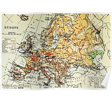 Old commercial map of Europe 1865 - 1907 Poster