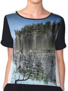 Abstract art depicting nature lakeside Chiffon Top