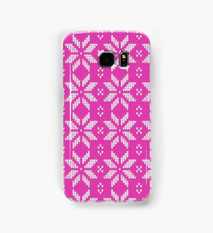 Knitted Snowflake Pink Samsung Galaxy Case/Skin