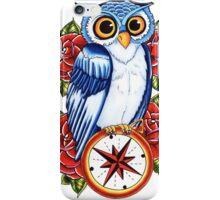 Owl Compass Rose tattoo design iPhone Case/Skin
