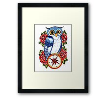 Owl Compass Rose tattoo design Framed Print