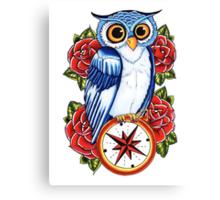 Owl Compass Rose tattoo design Canvas Print
