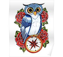 Owl Compass Rose tattoo design Poster