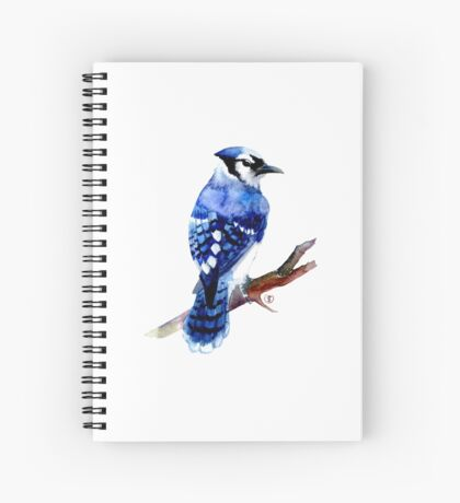 Watercolor blue jay  Spiral Notebook