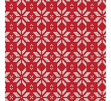Knitted Snowflake Red Photographic Print