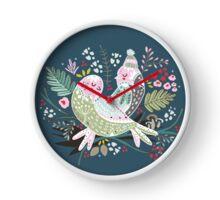 Holiday Birds Love II Clock