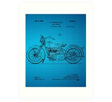Motorcycle Patent 1925 - Blue Art Print