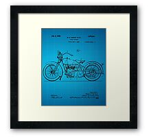 Motorcycle Patent 1925 - Blue Framed Print