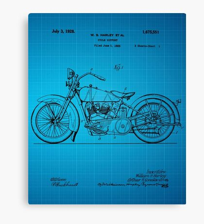 Motorcycle Patent 1925 - Blue Canvas Print