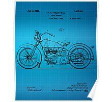 Harley Davidson Motorcycle Patent 1925 - Blue Poster