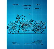 Harley Davidson Motorcycle Patent 1925 - Blue Photographic Print