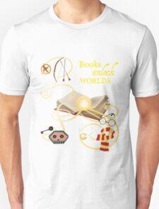 Books Unlock Worlds Unisex T-Shirt