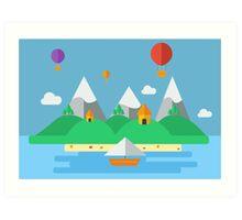 Flat Design Island Art Print