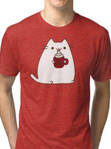 Cute Kawaii Hot Cocoa Cat Tri-blend T-Shirt
