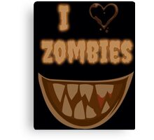 I Heart Zombies (black) Canvas Print