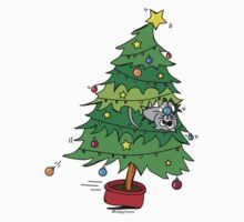 Christmas Holiday - Cat In Tree Kids Tee