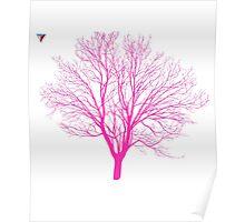 Neon Pink Tree Design by Cyrca Originals Poster
