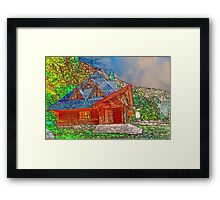 Wooden house of forester Framed Print