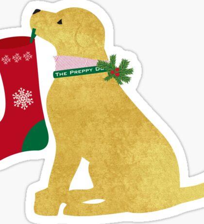 Yellow Lab Preppy Dog Christmas Sticker