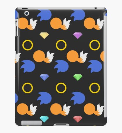 Sonic and Tails chaos emeralds (black) iPad Case/Skin